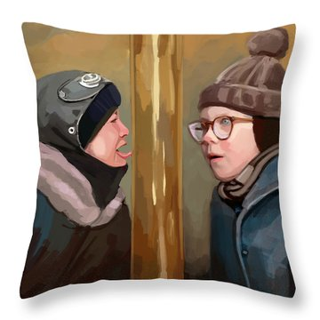 A Christmas Story Tongue Stuck To Pole Throw Pillow