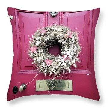 A Christmas Wreath Throw Pillow
