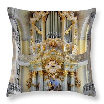 A Church Filled With Music - Church Of Our Lady Dresden Throw Pillow by Christine Till