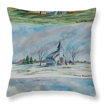 A Church For All Seasons Throw Pillow by Charlotte Blanchard