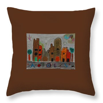 A Child's View Of Downtown Throw Pillow by Harris Gulko