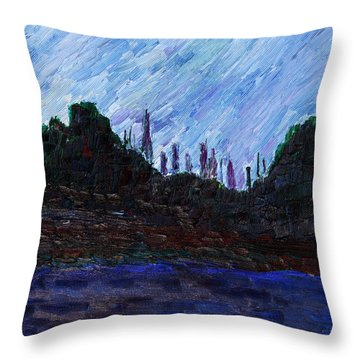 Throw Pillow featuring the painting A City That Never Sleeps by Vadim Levin