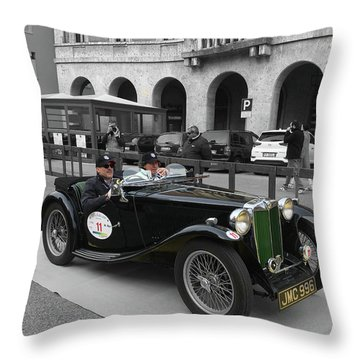 A Classic Vintage British Mg Car Throw Pillow