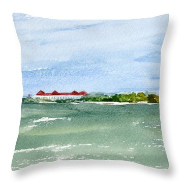 A Clear Day At Cape May Point  Throw Pillow
