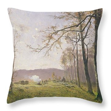 A Clearing In An Autumnal Wood Throw Pillow by Max Kuchel
