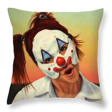 A Clown In My Backyard Throw Pillow by James W Johnson