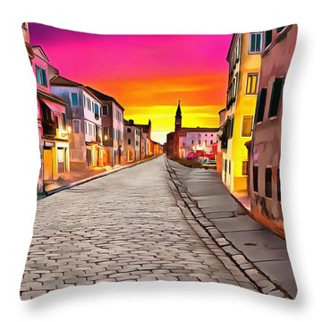 A Cobblestone Street In Venice Throw Pillow