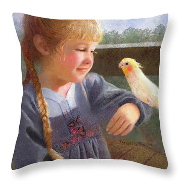 Throw Pillow featuring the painting A Cockatiel Named Sunshine by Nancy Lee Moran
