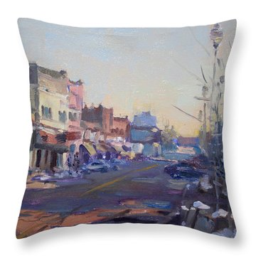 A Cold Sunny Day At Webster St Throw Pillow