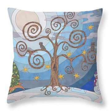 A Cold Winters Night Throw Pillow