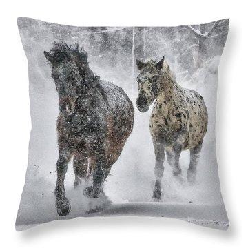 Throw Pillow featuring the photograph A Cold Winter's Run by Wade Aiken