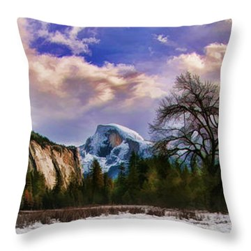 A Cold Yosemite Half Dome Morning Throw Pillow
