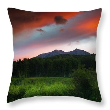 Throw Pillow featuring the photograph A Colorado Mountain Sunset by John De Bord