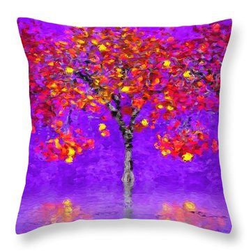 A Colorful Autumn Rainy Day Throw Pillow by Gabriella Weninger - David