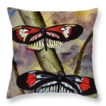 Throw Pillow featuring the painting A Colorful Couple by Sam Sidders
