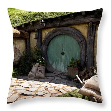 A Colorful Hobbit Home Throw Pillow