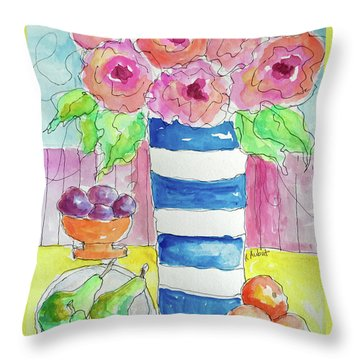 Throw Pillow featuring the painting Fruit Salad by Rosemary Aubut