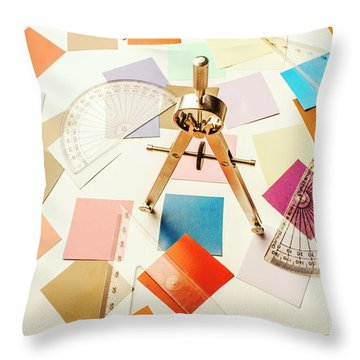 A Colourful Blueprint Throw Pillow