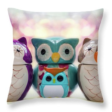 A Colourful Parliament Of Owls Throw Pillow by Martina Fagan