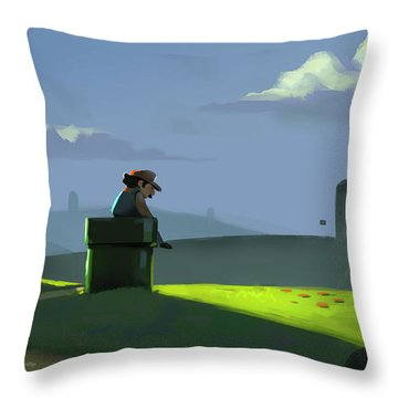 Throw Pillow featuring the painting A Contemplative Plumber by Michael Myers