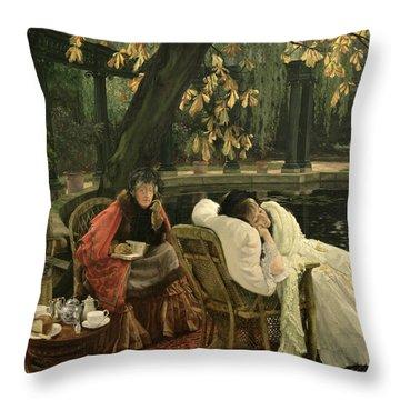 A Convalescent Throw Pillow by James Jacques Joseph Tissot