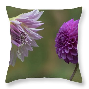 Throw Pillow featuring the photograph A Conversation Between Dahlias by Angie Vogel