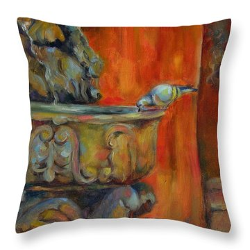 Throw Pillow featuring the painting A Cool Drink by Chris Brandley