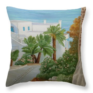 Throw Pillow featuring the painting A Corner In San Jose by Angeles M Pomata
