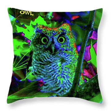 Throw Pillow featuring the photograph A Cosmic Owl In A Psychedelic Forest by Ben Upham III