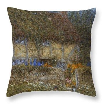 A Cottage Near Godalming Surrey Throw Pillow by Helen Allingham