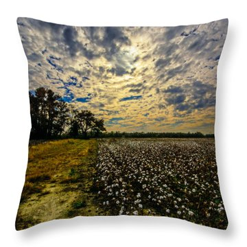 A Cotton Field In November Throw Pillow