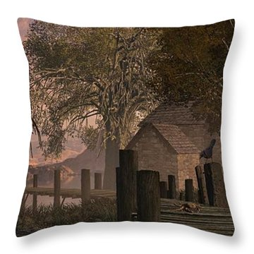 A Country Farm Scene With Blue Jay Watching A Crab On An Old Pier Along With Horse Throw Pillow