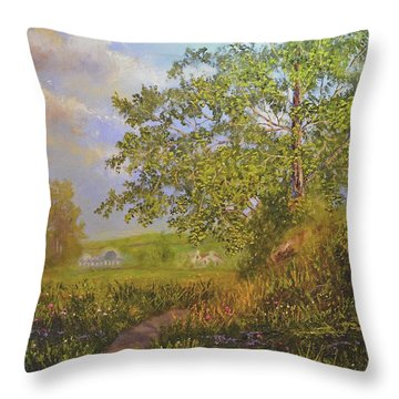 A Country Walk In Bristal Throw Pillow