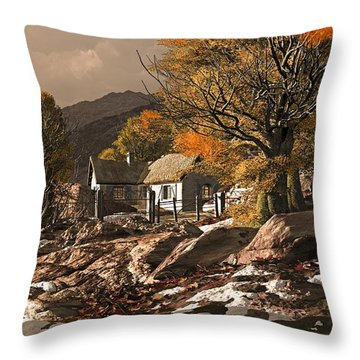 A Countryside Cottage With Patches Of Snow In The Fall Throw Pillow