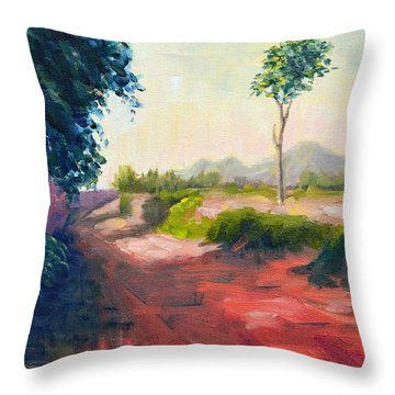 A Countryside Road Throw Pillow