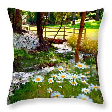 A Country Stream With Wild Daisies Throw Pillow