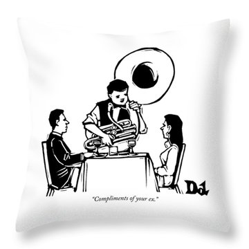 A Couple Seated At A Restaurant Face A Man Who Throw Pillow