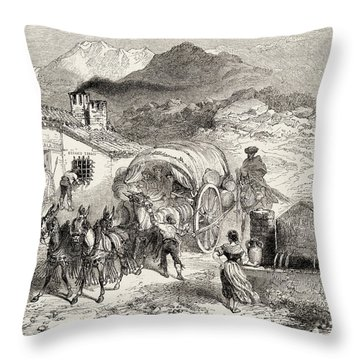 A Covered Wagon Drawn By Mules Arriving Throw Pillow