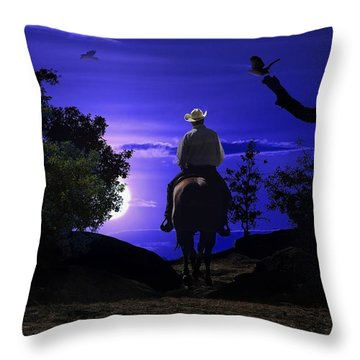 A Cowboy Riding A Horse On A Mountain Trail Into The Night. Throw Pillow