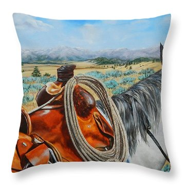 A Cowboy's View Throw Pillow