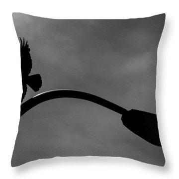 A Crow And A Streetlight Throw Pillow