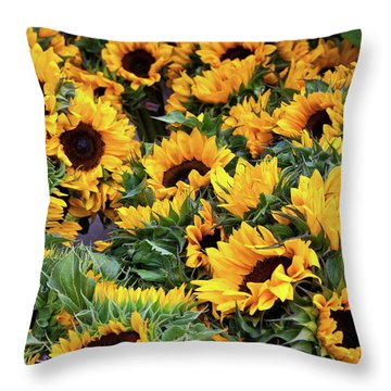 Throw Pillow featuring the photograph A Crowd Of Sunflowers by Susan Cole Kelly