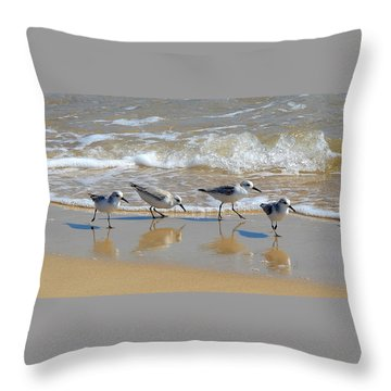 A Cute Quartet Of Sandpipers Throw Pillow