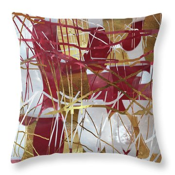 A Dance Of Rubies And Old Gold Throw Pillow