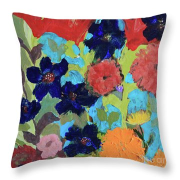 Throw Pillow featuring the painting A Dandelion Weed Making It's Way In The Garden by Robin Maria Pedrero