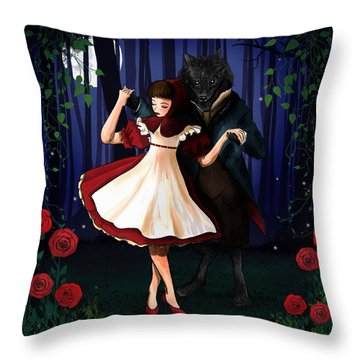 A Dangerous Dance Red Hood And The Wolf Art Print Throw Pillow