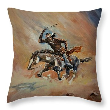 A Dash For Cover Racing Oncoming Sandstorm   Throw Pillow