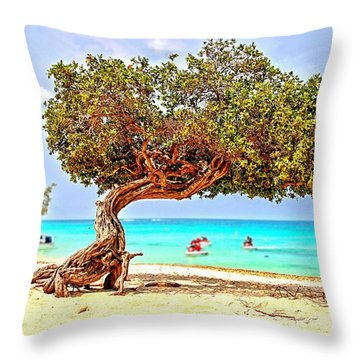 Throw Pillow featuring the photograph A Day At Eagle Beach by DJ Florek