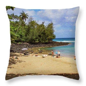 A Day At Ke'e Beach Throw Pillow