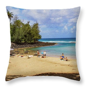 A Day At Ke'e Beach Throw Pillow